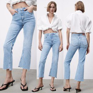 NEW Zara Z1975 High Rise Mini Flare Crop Step Hem Jeans Light Blue 12